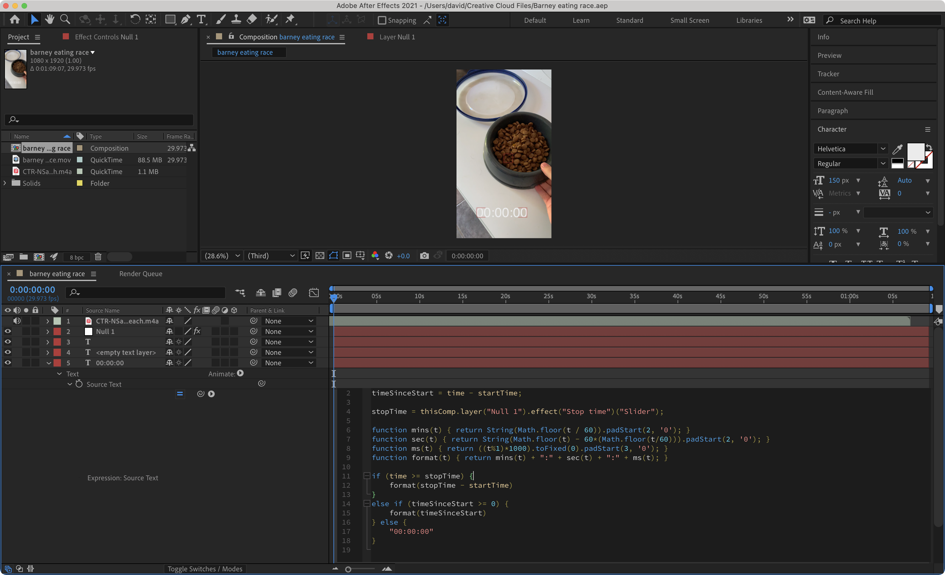 Screenshot of the Adobe After Effects workspace used for this project.