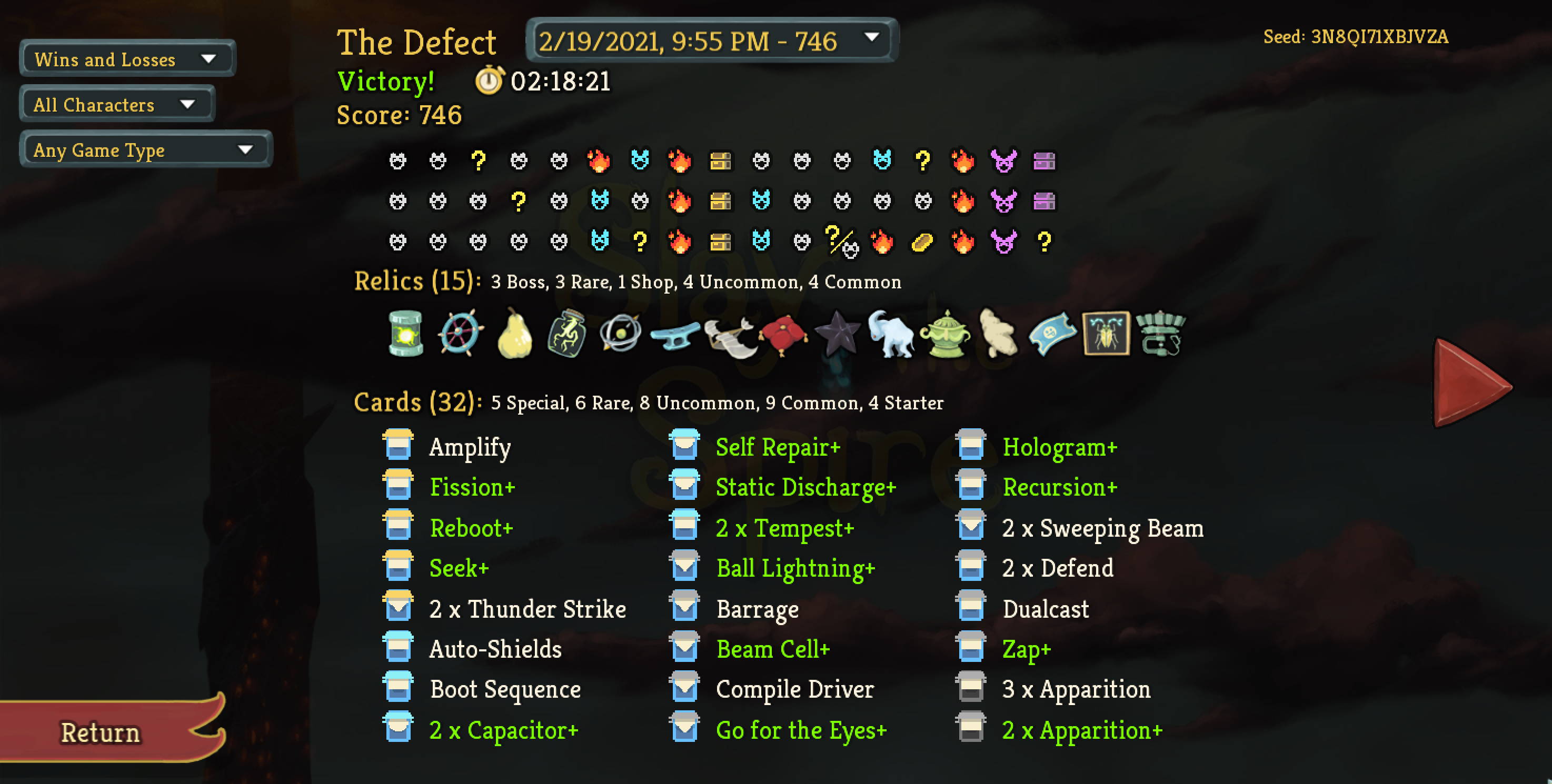 Screenshot of the Slay the Spire stats screen showing the successful build.